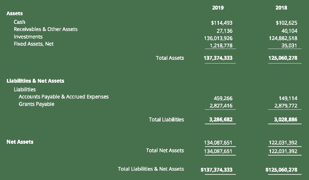 REACH 2019 Financial position